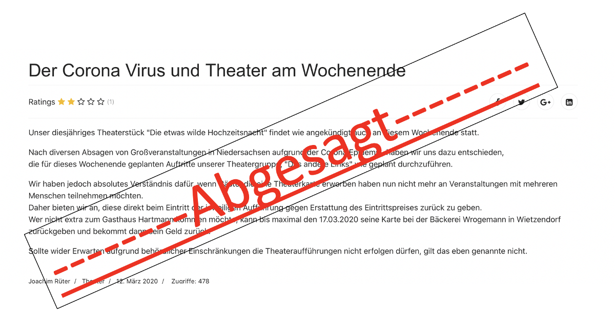 Theater absage